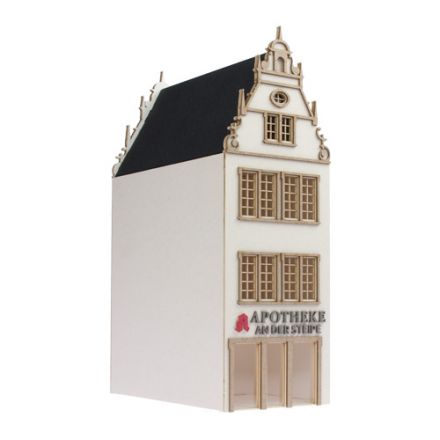"Unique Laser-Cut Building Kit - Town house ""Apotheke"" - L: 113mm x B: 62mm x H: 198mm - H0 (1:87) - (01-01-001)"