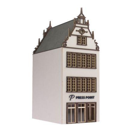 "Unique Laser-Cut Building Kit - Town house ""Press Point"" - L: 113mm x B: 72mm x H: 190mm - H0 (1:87) - (01-01-002)"