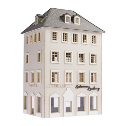 "Unique Laser-Cut Building Kit - Town house ""Koffer Ecke Ludwig"" - L: 113mm x B: 87mm x H: 190mm - H0 (1:87) - (01-04-001)"